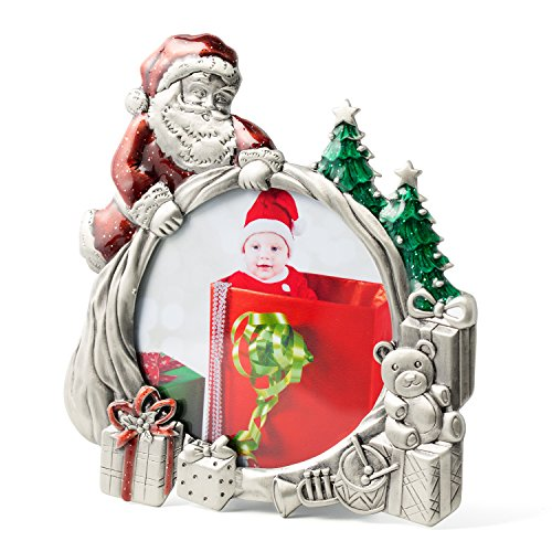 WorldWide Selection Home - Metal Photo Frame/Picture Frame, 3.5 x 3.5 inch, Real Clear Glass Front Cover,Christmas Santa Claus, Zinc Patina Plated, Tabletop Vertically - Santa Claus Portrait