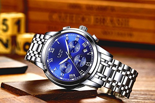Men's Watches,Stainless Steel Band Waterproof Quartz Watch, LIGE Luxury Business Analog Chronograph Date Wrist Watch by LIGE (Image #2)