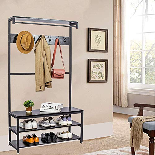 Gelinzon Industrial Modern Coat Rack with Shoe Bench, Vintage Shoe Coat Rack, Hall Tree Entryway ShelfWood Look Accent Furniture with Metal Frame, 3 in 1 Design with 14 Hooks for Garments (Trees Coat)