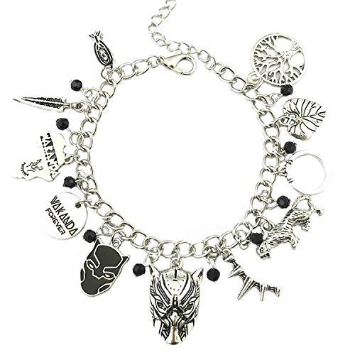 BlingSoul Panther Black Charm Bracelet - Wakanda Costume Jewelry Merchandise Gifts for Women