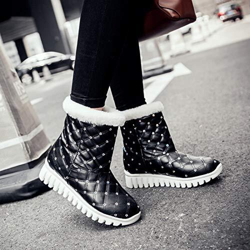 Wpew-Woherren Stiefel Größe Runden Kopf Keil mit Winter warme Damen Kurze Stiefel