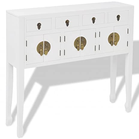 Festnight Sideboard Buffet Storage Cabinet Bedroom Dining Room Study  Hallway, Solid Wood, White