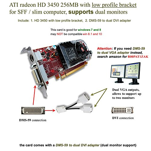 Epic IT Service - ATI Radeon HD 3450 for dual monitor setup (half size bracket, DMS-59 to dual DVI adapter) Dell Dvi Adapter Card