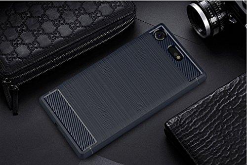 Funda Sony Xperia XZ1 Compact,Funda Fibra de carbono Alta Calidad Anti-Rasguño y Resistente Huellas Dactilares Totalmente Protectora Caso de Cuero Cover Case Adecuado para el Sony Xperia XZ1 Compact C