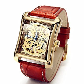 ALPS Mens Classic Skeleton Hand Wind Automatic Gold Watch with Brown Leather Band Relojes Mecánicos