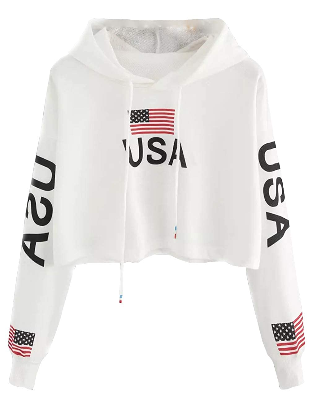 Cute Sweatshirts for Teen Girls USA American Flag Jacket Crop Top Cropped Hoodie Pullover Jumper Sweater Tops Clearance Sale