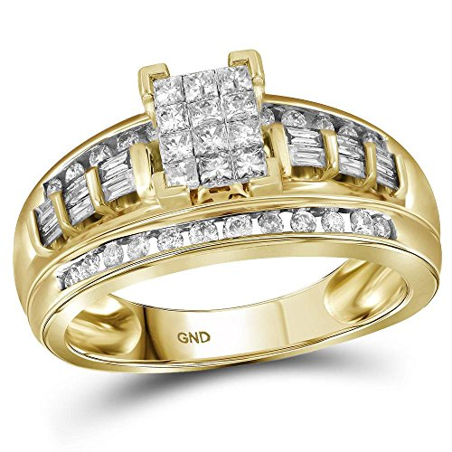 10kt Yellow Gold Womens Princess Diamond Cluster Bridal Wedding Engagement Ring 1/2 Cttw - Size 7.5