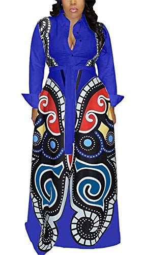 Aro Lora Women's African Print Long Sleeve Button Down Dashiki Maxi Dress Long Shirt Dress XXX-Large Blue (Best African Fashion Dresses)