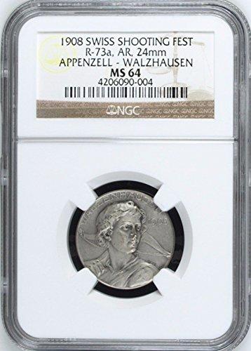 1908 CH 1908 Switzerland Shooting Medal Appenzell Walzhau coin Good