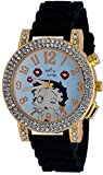 Betty Boop #BB-W072 Women's Blowing Kisses Gold Tone Black Silicone Band Crystal Watch
