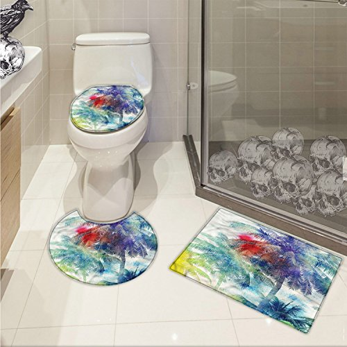 Paradise 3 Piece - jwchijimwyc Palm Tree pattern Retro Watercolor Silhouettes of Palm Trees Stains on Tropical Paradise Theme 3 Piece Toilet lid cover mat set Multicolor