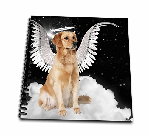 3dRose Golden Retriever Angel Dog Sitting on A Cloud with A Cute Halo and Angel Wings-Drawing Book, 8 by 8