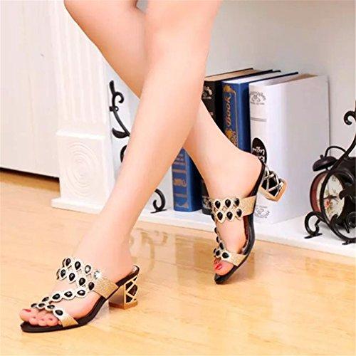 Chaussures Cristal Hauts Rome d'été Sandales Brillantes Talons Occasionnel En Air Black Plein Femmes Épais Mode Tongs Lumino Femme wq0SxZ6tx