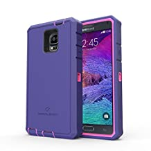 Samsung Galaxy Note 4 Rugged Case,Zerolemon ZeroShock Rugged Case + Belt Clip [Battery NOT Included] (Fits All Versions of Galaxy Note 4) [180 days ZeroLemon Warranty Guarantee] - Pink /Purple