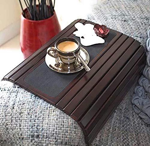 (Couch arm Table Sofa Arm Tray. Flexible/Foldable Coaster Couch Tray. Perfect for Drinks, Snack, Remote or Phone. Tv Tray for Couch armrest. Snack Table Caddy or Chair Tray by DM Concepts)