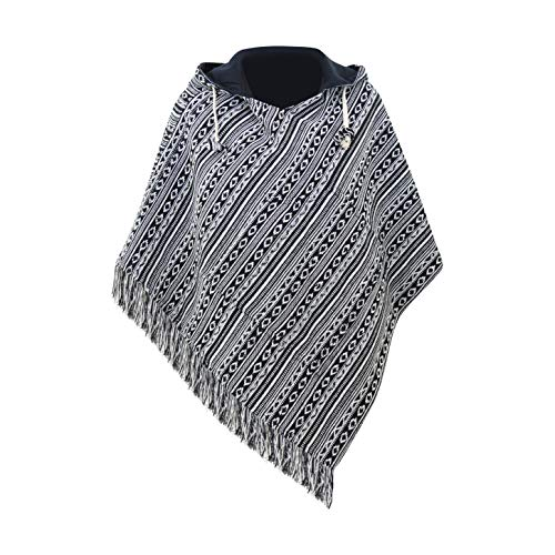 (virblatt - Ponchos for Women Poncho Sweater Baja Mexican Womens Jerga Black Cotton Relaxed - Relaxed bk)