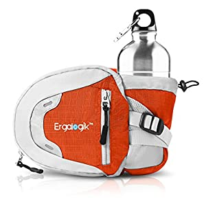 ErgaLogik Day Trekker - Hiking Waist Pack with Water Bottle (Not Included) Holder - Fanny Pack - Dog Walking - Running Belt Bag Pouch Fanny Pack for Hiking Running Cycling Camping Travel (Orange)