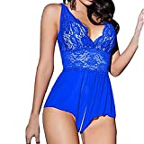 Alalaso Women V Neck Lace Sexy Passion Lingerie Deep V Halter Babydoll G-String Dress (XL, Blue)