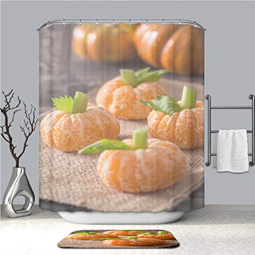 BEICICI Creative Shower Curtain and Bath mat Rug Healthy Halloween Treats Tangerine Pumpkin Kids Fun Custom Stylish,Waterproof, Proof Bathroom Set]()