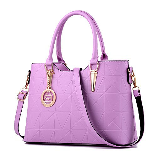 Women's Purses Triangle Cone Casual Fashion Tote Bags Hardware Pendant Ladies Shoulder Bags Girls Messenger Bags,Purple (Pendant Purse)