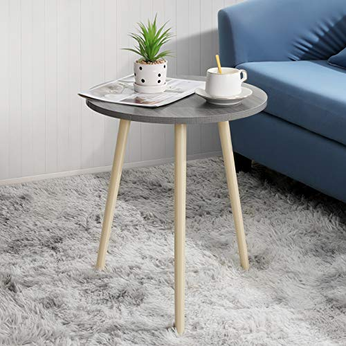 Haton Side Table Small Round Grey Wooden End Tables with Tripod Stand Portable Versatile Nightstand Coffee Table for…