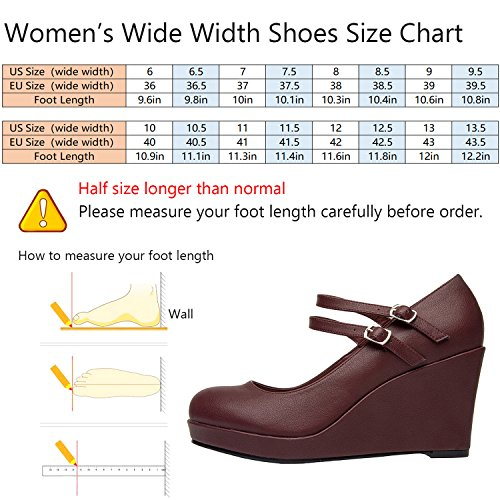 Image of Luoika Women's Wide Width Wedge Shoes - Mary Jane Ankle Buckle Double Strap Round Closed Toe Heel Pump