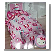 Hello Kitty 4pc Twin Bedding Set Comforter and Sheet Set