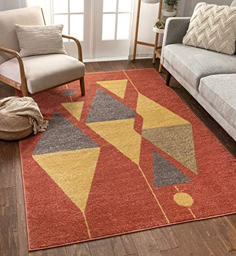 Well Woven Mystic Scarlett Red Modern Abstract 5'3″ x 7'3″ Distressed Area Rug