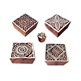 Fabric Print Stamps Crafty Square Floral Shape Wooden Blocks (Set of 5)