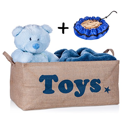 XXL Toy Storage Basket 22' jute Toy Chest Bin Organizer for Nursery, Kids, Baby, Dog toys, Shelves and Stuff. Decorative Blue or Pink for Boys and Girls, with Small Storage Bag Gift By Sweet-ty