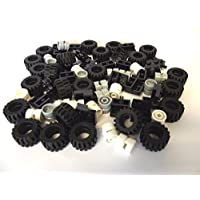 LEGO City - Juego de ruedas, neumáticos y ejes - Negro, blanco y gris claro, 72 piezas en total