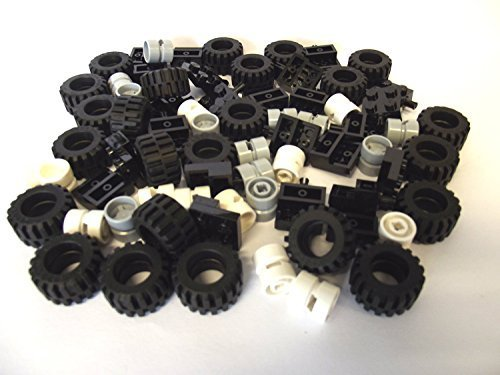 LEGO City - Wheel, Tire and Axle Set - Black, White, and Light Gray, 72 Pieces in Total