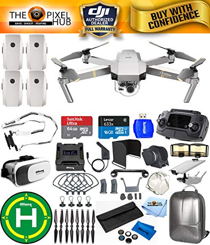 Cheap DJI Mavic Pro Platinum Edition Pro Accessory Bundle With Backpack, 7 Piece Filter Kit, Vest Strap, Landing Pad Plus Much More (4 Batteries Total)