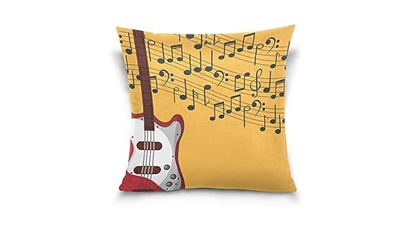 Use7 Funda de Almohada Decorativa, Cuadrada, Funda de Almohada, Nota Musical Guitarra eléctrica, Funda de Almohada para sofá o Cama, Dos Lados, Tela, ...