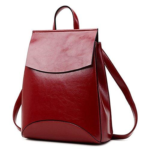 (JVP1088-R1) Suerte de cuero de vaca zurriago mochila de vino tinto 3way bolso de hombro bolso simple anillo impermeable niñas viajan a la moda popular lindo Vino Tinto