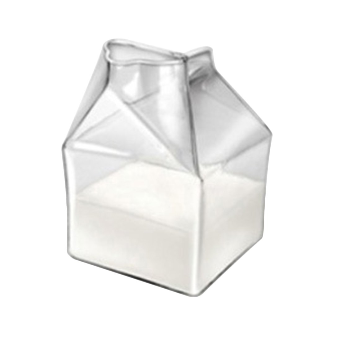 CT-Tribe 200ML Half Pint Blown Glass Mini Milk Creamer Carton Container Milk Box Drink Beverage Mug Ware Bottle Clear