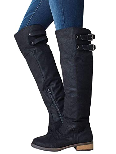 ecd140c9d06 Ermonn Womens Wide Calf Riding Boots Knee High Buckle Strap Suede Low Heel  Combat Boots Black