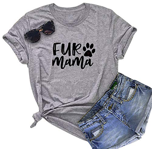 (BANGELY Dog Mom Letters Printed Women's Funny T Shirt Casual O-Neck Short Sleeve Tees Tops Blouses Size Large)