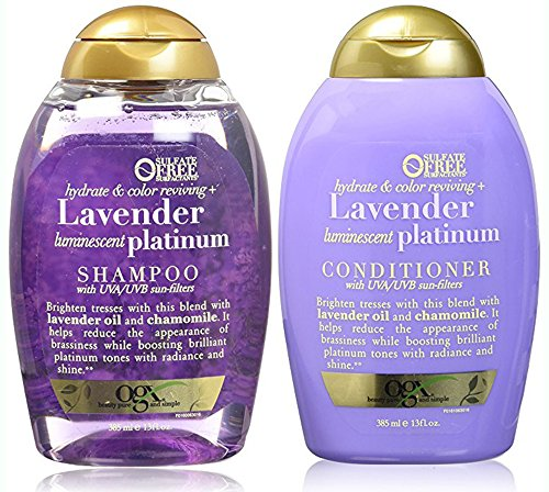 (Organix Sulfate Free Hydrate & Color Reviving + Lavender Luminescent Platinum Shampoo 13 Oz and Conditioner 13 Oz 'Set')