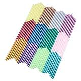 PandaHall Elite 96 Pcs 12 Colors Hot Glue Gun Sticks Glitter Mini Hot Melt Adhesive Glue Sticks100x7mm for DIY Art Craft