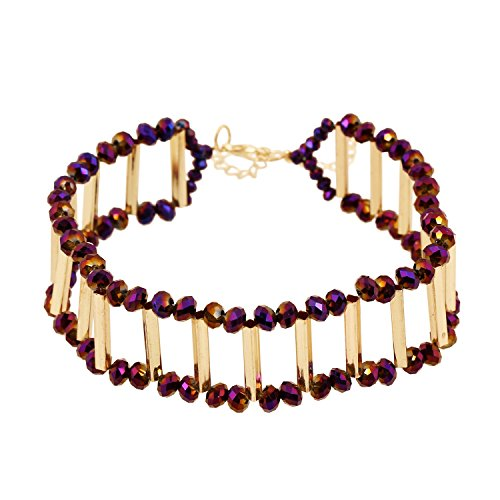 Glass Facet (D EXCEED Cute Choker Necklace Dainty Purple Facet Glass Bead Gold Collar for Women, 12