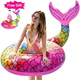 GABOSS Pool Float Giant Inflatable Mermaid Tail Pool Floats - Swimming Ring Beach Party Lounge Rafts With for Drink Holder