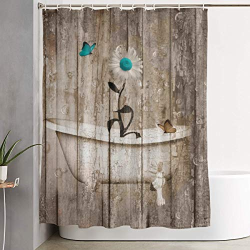 Modern Daisy - Amonee-YL Farmhouse, Daisy Flower Butterflies Rustic White Bathtub Polyester Fabric Shower Curtain Sets with 12 Hooks,Modern Bathroom Home Decor, Waterproof 60