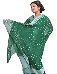 Exotic India Bandhani Tie-Dye Dupatta from Gujarat with - Color Cadmium Green
