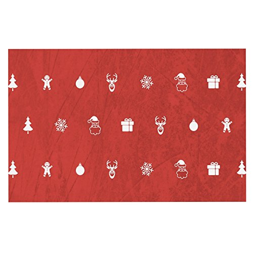 """well-wreapped KESS InHouse SS1004ADM02 Snap Studio """"Cheery Pattern Red"""" Maroon Dog Place Mat, 24"""" x 15"""""""