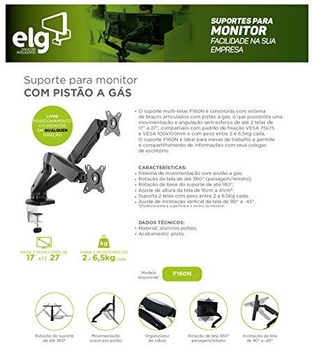 """Suporte Articulado de Mesa com Pistão a Gás e Ajuste de Altura para 2 Monitores de 17"""" a 27"""" - F160N"""