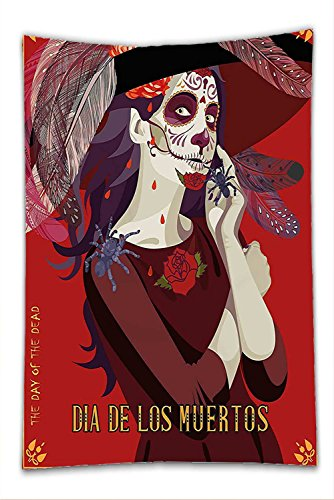Nalahome Fleece Throw Blanket Day Of The Dead Decor Skull Dead Corpse Cute Girl with Hat and French Dress Maroon Ruby and Burgundy