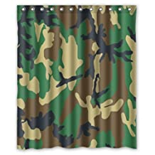 Waterproof Bathroom Fabric Shower Curtain, Forests Camo Military Army Camouflage Pattern Uniform Style Print Design 60 X 72 Inch by Hot Curtain