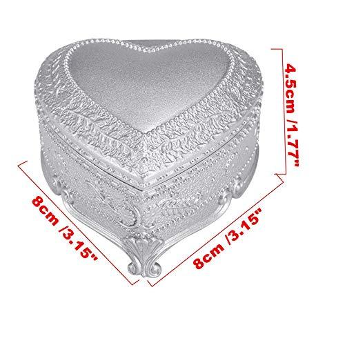Herzform Spieluhr, Geschenk klassische Spieluhr Legierung Spieluhr Geschenk Spieluhr, Home Decoraiton by YMWLKE (Farbe : Silver) 3d8a9b