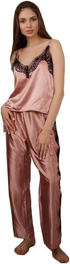 Pants Silk Sleepwear Lace Splice Lounge Wear Women Casual Solid v Neck Satin Cami Pajama Regular Sets Long Nightwear